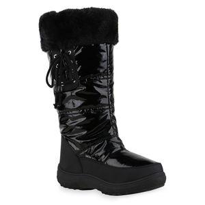 Mytrendshoe Damen Warm Gefütterte Winterstiefel Bequeme Stiefel Schuhe 836080, Farbe: Schwarz, Größe: 39