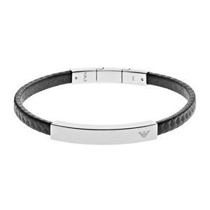 Emporio Armani Herren Armband SIGNATURE Edelstahl Leder 20,5 cm