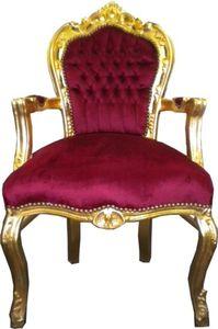 Barock Esszimmer Stuhl Bordeaux / Gold mit Armlehnen