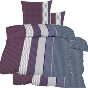 4-tlg. Seersucker Bettwäsche 2x (135x200 +80x80cm), grau lila, Streifen, bügelfrei, Microfaser
