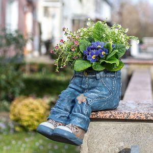 Kantenhocker Pflanztopf Jeanshose, Übertopf, Blumentopf Jeansoptik Höhe ca.35cm