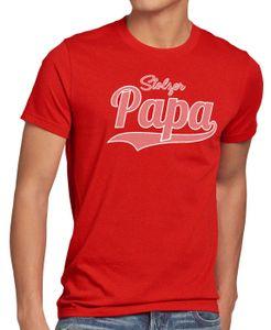 style3 Stolzer Papa Herren T-Shirt Vater Dad Spruchshirt Funshirt, Größe:L, Farbe:Rot