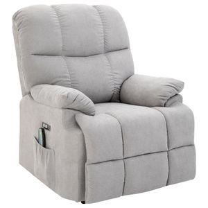 HOMCOM Massagesessel Aufstehhilfe Relaxsessel mit Wärmefunktion USB Fernbedienung Kurzplüsch Grau 94 x 96 x 104 cm