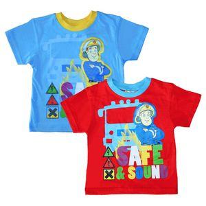 T-Shirt Safe & Sound   Feuerwehrmann Sam   Größe 92 - 116   Kinder Jungen Shirt, Größe:110, Farbe:Hellblau