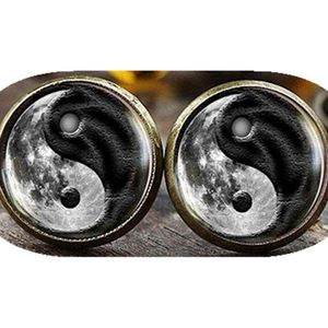 Mllaid Mond-Yin-Yang-Ohrstecker, Mond-Ohrringe, Yin-Yang-Ohrringe, Spirituelles Geschenk, schwarz-weiße Ohrringe