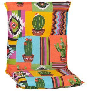Gartenmöbel Auflage Piemont - Polsterauflage mit Halteband & Bindebändern, Größe:4x Niedriglehnerauflage, Dessin:Mexiko