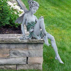 Garten Ornament Fee, Sitzende Magische Elfen Statue Gartenfiguren, Feenfigur Dekoration Gartendeko für Zuhause, Patio, Hof(Grau)