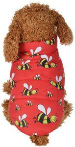 Reversibel Pullover Bienen Muster Hundekleidung Hundemantel Hundejacke Hundepullover Warm Winter für Kleine und große Hund Reversibel, Dunkelrot xl