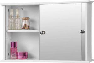 Spiegelschrank für Badezimmer mit Ablage aus Holz weiß