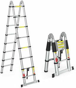 5m Teleskopleiter Alu  Klappleiter Aluleiter Stehleiter   Mehrzweckleiter  Schiebeleiter  Ausziehleiter m/2 Rollen  für Dachboden Kletterdach Büronutzung Baujob Aluleiter rutschfeste Stufen