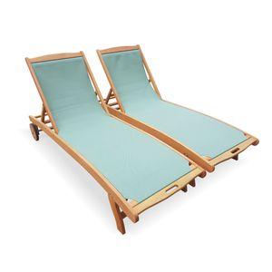 2er Set Holz Sonnenliegen - Marbella Graugrün - 2 Liegestühle aus geöltemEukalyptusholz und Textilene in Graugrün