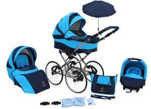 """Lux4kids Retro Kinderwagen 17 """" Reifen Speichenräder Pannenfrei mit Sonnenschirm Classico  Ocean 03 2in1 ohne Babyschale"""