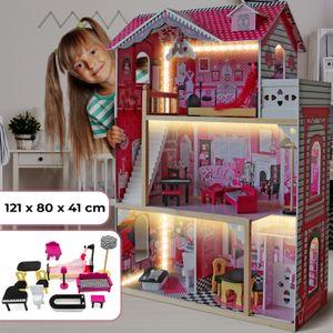 Infantastic® XXXL Puppenhaus aus Holz mit LED - 3 Spielebenen, Möbeln/Zubehör, für 27cm große Puppen - Puppenvilla, Dollhouse, Kinder, Spielzeug, für Kinderzimmer und Schlafzimmer, für Mädchen und Jungen