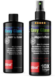 iXtral Easy Glass 2-in-1 Set Nanoversiegelung Glasversiegelung für Reinigen von Dusche Duschwand Glas Fliesen Porzellan gegen Kalk & Schmutz Lotuseffekt Abperleffekt inkl. Reiniger