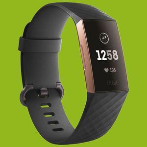 Für Fitbit Charge 3 / 4 Kunststoff / Silikon Armband für Männer / Größe L Schwarz Uhr