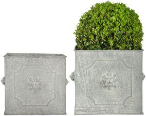 Esschert Design 2er Set Metall Blumen Topf Löwen Deko eckig Umtopf Pflanz Kübel