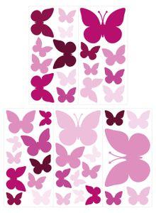 dekodino® Wandtattoo Schmetterlinge Orchidee Kinderzimmer Deko Set