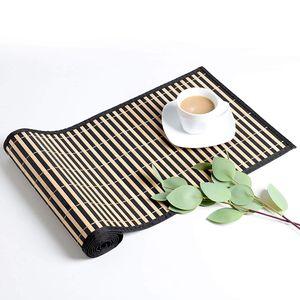LOVECASA Bambus Tischläufer,135 cm Lang 30 cm Breite Tischdecke, Tischband