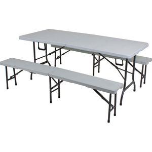 3tlg. Garten Set MUFARO Tisch Bänke Sitzgruppe Essgruppe Garnitur Camping Möbel