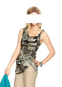 Ashley Brooke Designer-Blusentop, taupe-bunt Shirts und Tops Größe: 42
