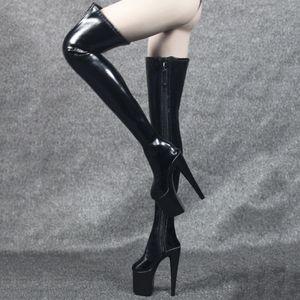 1/6 Frauen Overknee High Heel Stiefel Schuhe Für 12 \'\' Actionfiguren Schwarz Farbe Schwarz