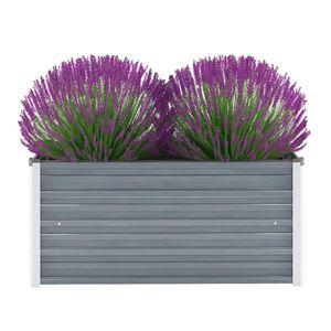 Garten-Hochbeet Verzinkter Stahl 100x40x45 cm Grau -Pflanzbeet ,Blumenkasten ,Frühbeet