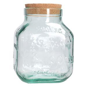 XL Cookie Keksdose + Deckel aus Naturkork 3.100 ml große Vorratsdose aus recyceltem Glas Geschirr