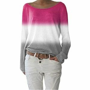 Damen Gradient Langarm T-Shirt Loose Casual Sweatshirt Top,Farbe: rosa rot,Größe:L