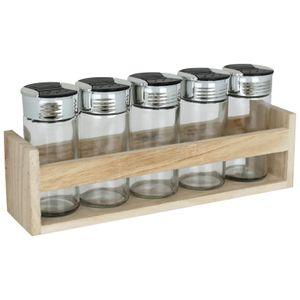 Gewürzregal 6tlg. Gewürzständer mit 5 Gewürzgläsern unbefüllt Gewürz Regal Gewürzstreuer Küchengewürzregal