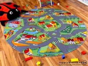 Kinder Spiel Teppich Little Village Grün Rund, Größe:100 cm Rund