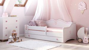 """Prinzessin Bett """"Clara"""" Kinderbett für Mädchen 80x160 cm Rosa mit Matratze, Bettkasten und Rausfallschutz"""