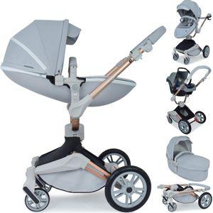 Daliya ® 3in1 360° Turniyo Kinderwagen mit Sportsitz, Babywanne & Babyschale Grau