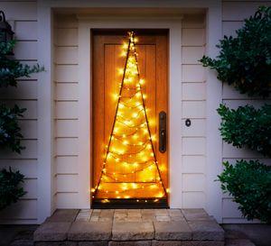 LED Türvorhang mit warm-weißer Beleuchtung, 120 LEDs, praktischer Timer, tolle Weihnachtsbeleuchtung für Innen & Außen, 75 x 210 cm, strombetrieben