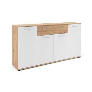 002828 Jacky 3 Artisan Eiche / weiß 4 Türen und 2 Schubladen Kommode Beistellkommode Stauraumkommode Sideboard ca. 160 cm