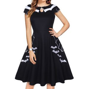 Damen Swing Kleid Partykleid Cocktailkleid mit Stickerei,Farbe: Schwarz,Größe:3XL
