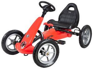 Kinder-Gokart mit Pedalen und Handbremse - Vor- und Rückwärtsgang Laufwagen für Kinder ab 5 bis 12 Jahren - Rot