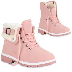 Mytrendshoe Damen Stiefeletten Winter Boots Warm Gefütterte Outdoor Schuhe 819935, Farbe: Rosa, Größe: 37