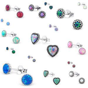 Opal Ohrringe: Silber Ohrstecker mit Opal Imitat, Modell & Farbe:Antique Opal Multi Lavender