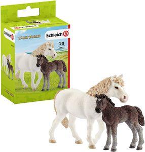 Schleich 42423 Pony Stute und Fohlen, Tiere, Spielfigur ab 3 Jahren