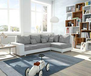 Couch Panama Hellgrau Weiss Ottomane rechts Ecksofa modular