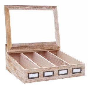 Besteckkiste HWC-C25, Holzbox mit Deckel Besteckkasten, Paulownia 17x37x33cm  naturbraun