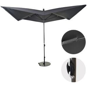 Luxus-Sonnenschirm MCW-A37, Marktschirm Gartenschirm, 3x3m (Ø4,24m) Polyester/Alu 10kg  anthrazit mit Ständer