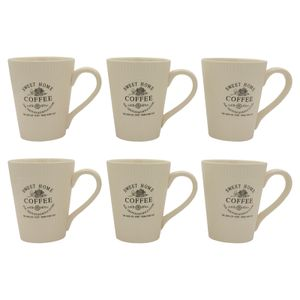Geschirrset Kombiservice Keramik Sweet Home Shabby Chic 6er-Set Kaffeebecher 250 ml