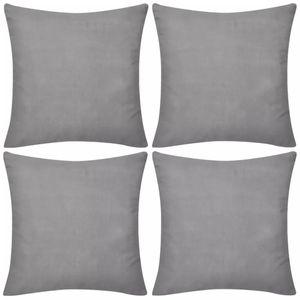 vidaXL 4 graue Kissenbezüge Baumwolle 50 x 50 cm