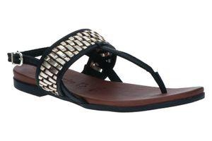 Tamaris Sandale Zehentrenner Riemchen Leder schwarz in Schwarz, Größe