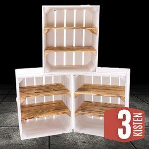 3 weiße Holzkisten mit 2 geflammten Regalbrettern/ NEU / 40x30x50cm / viel Lagerfläche