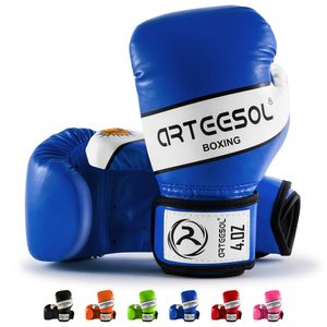 Arteesol 4oz Kinder Boxhandschuhe Kampfsport Punch Bag Kickboxing Sparring  Muay Thai Fitness Training Blau