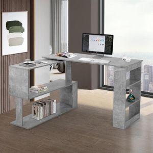 Eckschreibtisch Computertisch Winkelschreibtisch Bürotisch Gaming Tisch 360-Grad-Drehung Offene Regale zur Aufbewahrung Grau