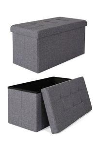 dibea faltbarer Sitzhocker / Aufbewahrungsbox, Sitzbank aus Leinen, 76 x 38 x 38 cm, grau