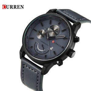 CURREN neue Marken-Mode-Quarz-Mann-Uhr Kunstleder-W / Kalender 3ATM Wasserdicht Mann laessig Armbanduhr